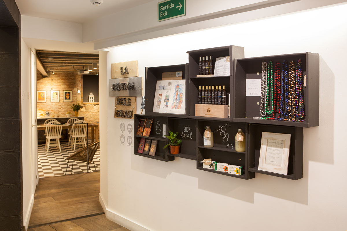local, artisanal and fair trade products sold at a Barcelona hotel
