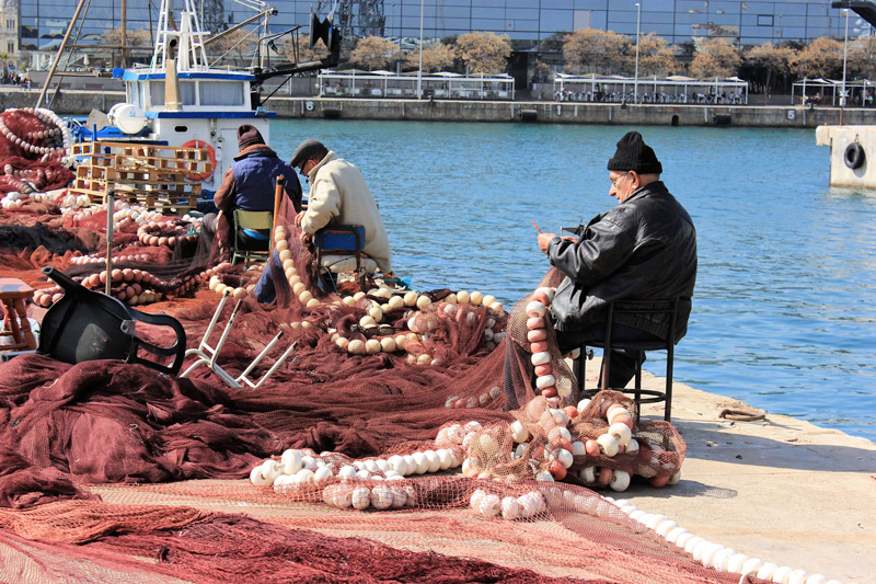 Fishermen at work in Barcelona